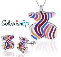 Discounts! Newest Brand Product Zinc Alloy Little Bear Enamel Jewelry Set,1set(necklace,earrings)Hurry! Free Post Shipping**