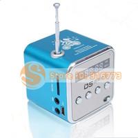 Blue Digital portable Mini Speaker MP3 Player USB Disk Micro SD TF Card FM Radio Line In TD-V26 Free Shipping