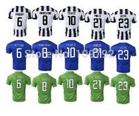 14 15 Italy SERIE A  23 VIDAL 21 PIRLO 9 Morata 10 TEVEZ 8 MARCHISIO 6 POGBA 3 CHIELLINI jersey soccer white blue green shirts