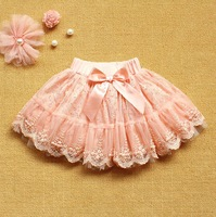 New2014 girls lace skirt beading kids princess party mesh clothing with bow spring summer 2-8years wear in stock 4pcs/lot