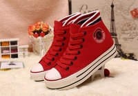 free shipping Fashion casual shoes high-top shoes muffin bottom solid color canvas shoes increased more colours