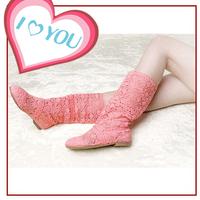 Beautiful !! Fashion Summer Autumn Women boots Knitted Cutout Crochet Boot High-leg Boots Sandals Women's Shoes 12 COLORS