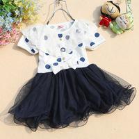 2014 new summer Kids girl cute dot lace gauze dress princess dress / girls tutu 4 piece / lot 1-4 years old Free Shipping