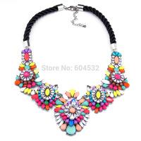 New shourouk stylish Luxury Multicolor Rhinestones /Crystals Statement Choker Bib Necklace black Hand made Rope Chain