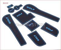 2013-2015 Volkswagen golf 7  GOLF 7 Mk7 Gate Slot Pad,door slot cunshion,tank gasket,non-slip cup mat/pad,blue color 9pcs/lot