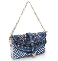 Shoulder bag female bag small chain diamond women's bag fashion handbag bags trend female vintage bag knitted denim bags 0021