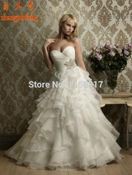 2015 свадебные платья noiva цвета слоновой кости или белый оборками бисероплетение милая свадебное платье из органзы
