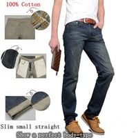 2014 New Hot Solid Mid Denim Zipper Fly Mid-rise Light Men Jeans / Men's Cotton Slim Small Straight Fashion /men Washed Long