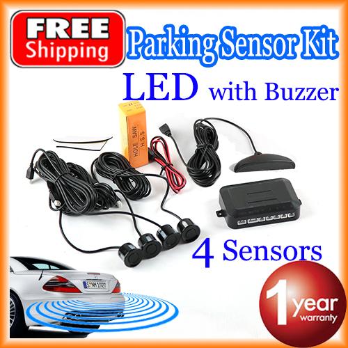 Car LED Parking Sensor Kit 4 Sensors 22mm Backlight Display Reverse Backup Radar Monitor System 12V 7 Colors Free Shipping(China (Mainland))