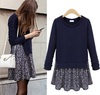 UK Brand New 2014 spring  ZA Women round o-neck long-sleeve above knee navy knit sweater dress preppy false two pcs winter dress
