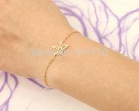 $10 free shipping Stainless Steel bracelets bangles swan Gold Color Alloy vintage charm Paper crane bracelet