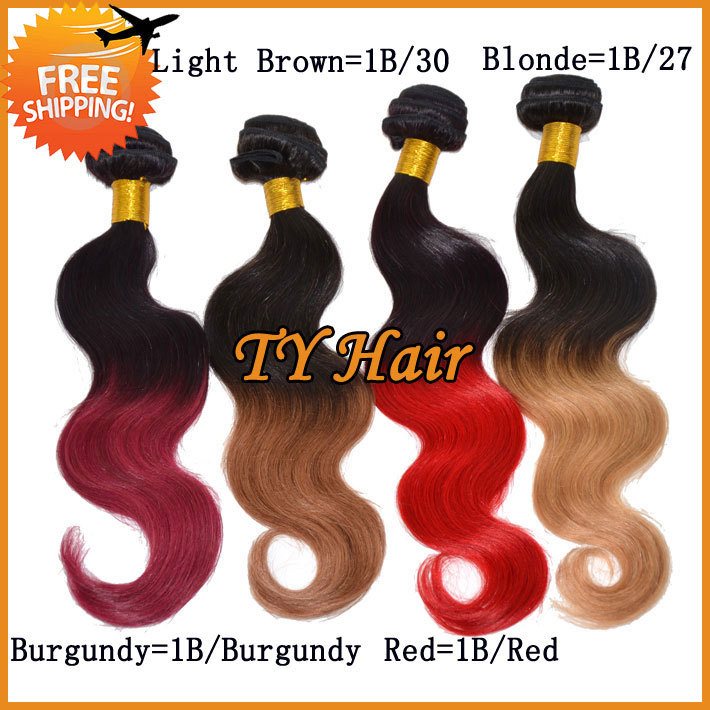 Ombre Hair Extensions Dip Dye Two Tone Color #1B Red 5A Virgin Brazilian Hair Weave Weft Body Wave 3pcs lot Queen Hair Products(China (Mainland))