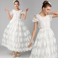 Free Shipping High Quality 2014 Hot Sale Fashion Cutout Crochet Lace One-piece Dress Slim White Women's Dress 9211#