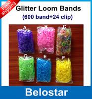 Hot DIY Glitter Rubber Loom Bands  Refill Loom Band Bracelet (600 pcs bands + 24 pcs S-clips ) Best Gift Free DHL