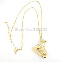 free shipping fashion jewelry items metal  ice skates 2 sides rhinestone big pendant necklaces for women