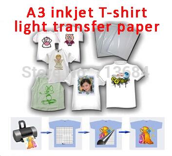 A3 inkjet T-shirt light transfer paper heat press 20 sheet Diy Tshirt(China (Mainland))