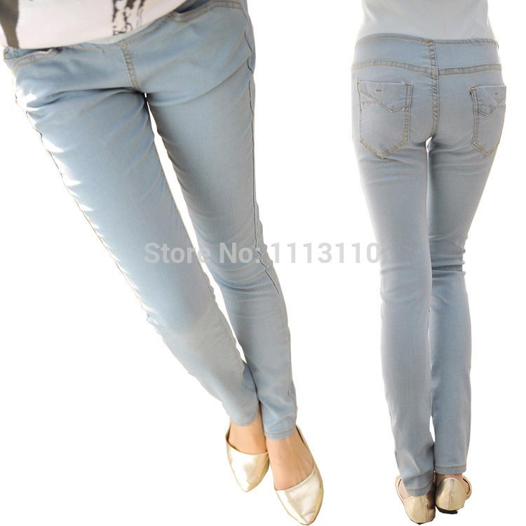 Vêtements de maternité pour le printemps 2014 denim pantalon grossesse jean taille plus briquet. bleu, légerfonction gravids trouses libre. shipping# w167
