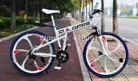 26 one piece wheel mountain bike bicycle aluminum alloy double disc folding mountain bike