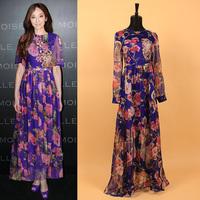 Europe America Brand 2014 Elegant New Arrival Women's Catwalk Long Sleeves Print Retro Ankle-length Dresses