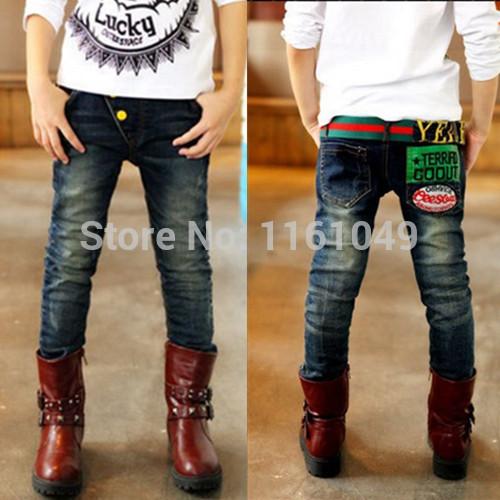 Nouveau 2014 d'été de la mode enfants ados adolescence grands garçons occasionnels jeans skinny pantalons pantalons designer détail