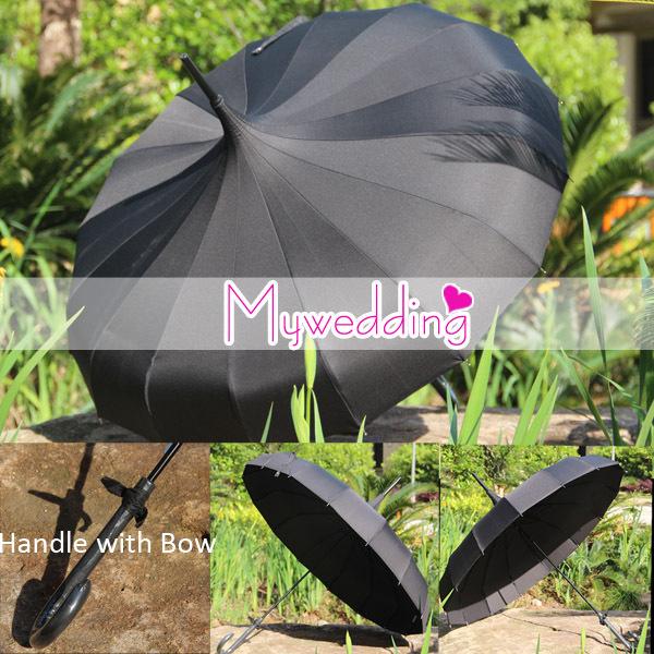 Free Shipping Waterproof UV- Protect Pongee Fabric Black Pagoda Umbrella(China (Mainland))