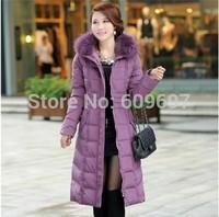 Plus Size M-5XL Women's White Duck Down Coat 2014 New Fashion Winter Female Dress High Qulity Real Fur Woman Long Pattern Jacket
