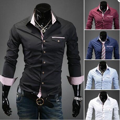 Free shipping 2014 spring new fashion male Dress shirt slim Long Sleeve Casual men's clothing turn down collar Band Plus size(China (Mainland))