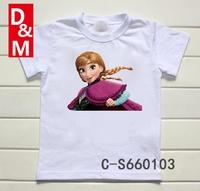 Cotton short sleeve children t shirts,cute cartoon,game boys girls figure kids wear  frozen queen
