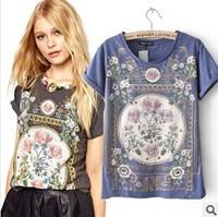 New 2014 Summer New Fashion Women T Shirt Royal Wind Flower Print O-Neck Short-Sleeve Roll Up Hem Cotton T-Shirts