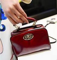 NEW bags vintage 2014 Fashion Rotation lock Women Mini Oil Leather Shoulder Cross-body Handbag Casual Motorcycle Messenger Bag