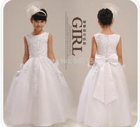 Free shipping High quailty Flower girl dresses for weddings Elegant floor length lace dress children 3-14 age