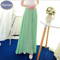 2014 spring and summer chiffon skirt 8 meters big hem Long skirt girl high waist ankle-length Maxi pleated skirts women's
