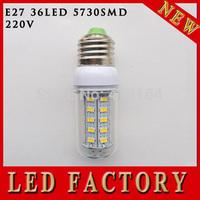 free shipping one pcs LED light lamps e27 led light 5730 e27 220V 12W Energy Efficient Corn Bulbs E27 5730 36LEDs Lamp 5730 SMD