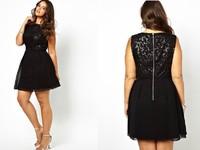 Fashion Evening Dresses Lace Exquisite Back Zipper Type Chiffon Sleeveless A-Line Big Women's Formal Dress Promotion