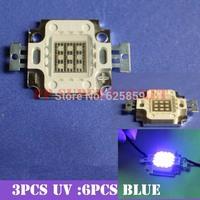 10pcs 10W   Actinic Hybrid Royal blue 440-445mm+UV 395-400 high power led light bulb