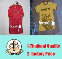 A+++ Top Men Belgium home red away yellow 100% Thailand Soccer Jersey 2014 Thai World Cup Kit New Football  Shirt Blouse Camisa