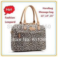 Newest Pop Fashion Leopard Ladies Handbag Laptop Bag 13,14 15,15.6 inch ,Shoulder Message Case Notebook, For Macbook, Free Ship.