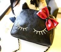 2014 women bag messenger bag fashion cartoon cat bag women chain bag pu leather free shipping