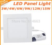 10pcs/lot 3W 4W 6W 9W 12W 15W 18W led downlight Square panel light SMD Ultra thin circle ceiling Down lamp
