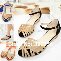 Brand flat sandals for women 2014 new sheepskin  flats slippers summer woman shoes sandalias  fashion genuine leather SIZE 31-43