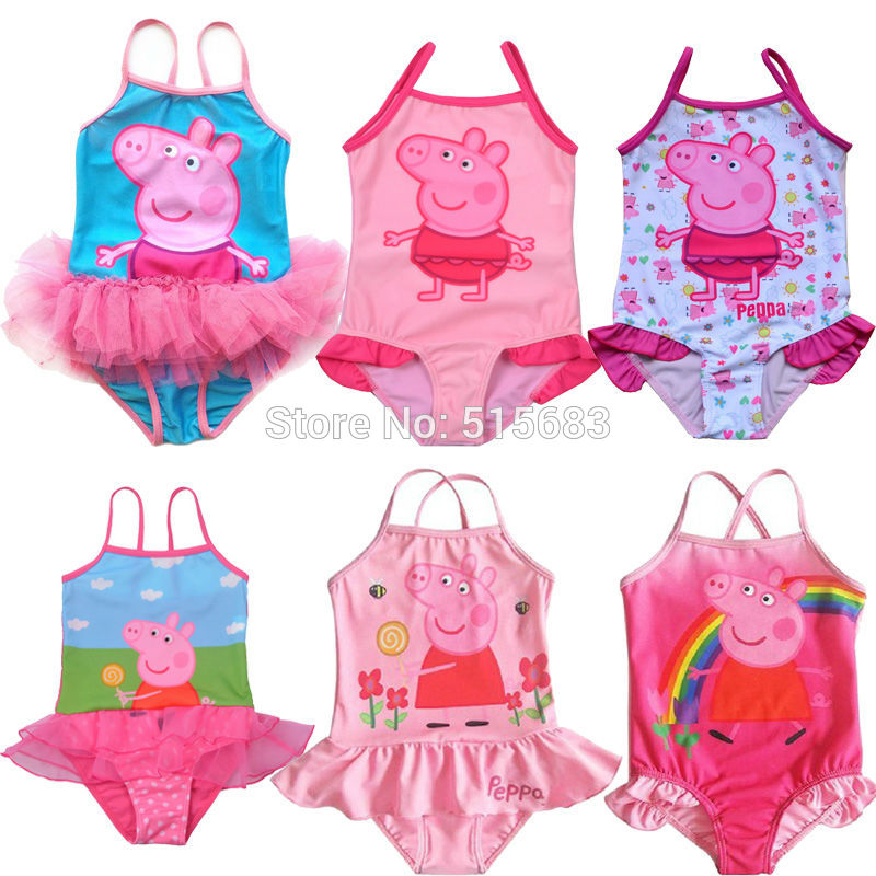 AliExpress.com Product - Retail Free shipping NEW Girls Baby Kids Peppa Pig Swimsuit Swimming Costume Tankini Swimwear 1-8Y Swimming Toddler One-Piece