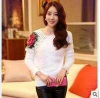 2015 New Fashion Autumn Winter Women Rose Hollow Shoulder Batwing Sleeve Pullover Lady Slim Knitting Sweater Cardigan Knitwear