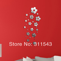 13pcs flowers acrylic mirror wall stickers child real decoration on the wall ,kids room sticker wall decor JC001