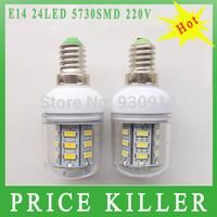 FREE SHIPPING E14 5730 LED light Led lamp 220V Corn Bulbs E14 5730 24LEDs Lamps 5730 SMD 9W Energy Efficient E14 led lighting