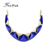Steampunk Necklace Colares Femininos Gold Plated Simulated Gemstone Jewelry Statement Necklace New 2014 Designer for Women