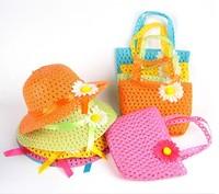 Summer Hat Girls Kids Beach Hats Bags Flower Straw Hat Cap Tote Handbag Bag Suit Free Shipping
