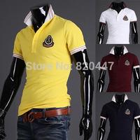 new man spring 2014 Summer new fashion design fashion embroidery labeling wild -sleeved shirt POLO shirts men Slim fit fashion