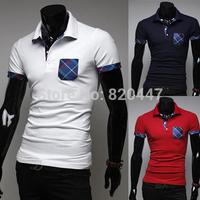 free shipping new man spring 2014 Summer new fashion leisure wild plaid decorative designer Slim men's short-sleeved shirt POLO