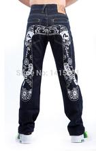 The British flag Print 2014 New Fashion designer Big M Brand Dark Color Men Hip Hop Jeans Icon Straight Slim Men's Casual Pants