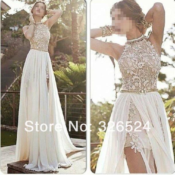 romantischen weißen kleid 2014 hoch niedrig spitze besonderen anlass kleid stehkragen perlen chiffon partykleid ed1407